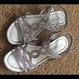 Silver Bandolino wedge sandal.